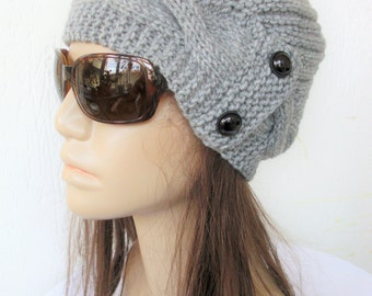 Womens Cloche Hat - Silver Gray Cable Knit hat Winter Hat - Handmade  Womens Hat with button  - Gift  Autumn  Winter Accessories Fashion hat