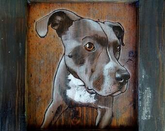 Custom woodburned pet portraits