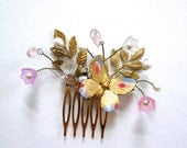 Ella spring bridal comb set brass gold pearl crystal butterfly flower cinderella