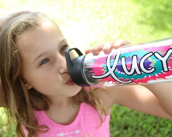 Personalized Water Bottle, Custom Color Choices, Easter Basket, Gift for Girls or Boys, Teens or Tweens, Tie Dye Design, Group Discounts