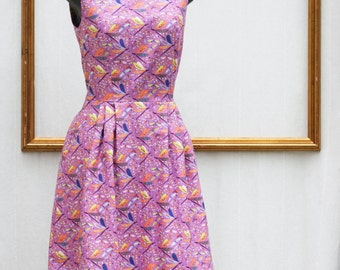 retro print dress with dragonflies - multicolored polkadot dress  - retro clothing - womens dress - rockabilly dress - FREE US SHIPPING