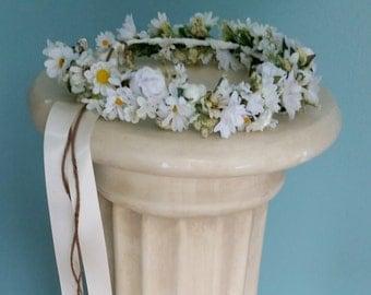 White Ivory wedding hair wreath Bridal Floral Crown daisy artificial International dried look halo blessingway headwreath garland