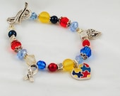 Autism Awareness Puzzle Piece Charm Bracelet - April is Autism Awareness Month! Pretty Autism Jewelry to show your support! : Handmade!)
