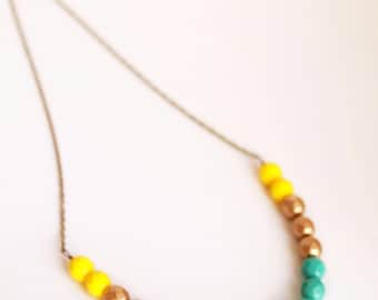 Glass Beaded Necklace, Yellow Necklace, Single Strand Necklace, Layering Necklace, Summer Beaded Necklace, Colorful Beaded Necklace, Gi