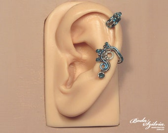 frost STEAMPUNK cartilage EAR CUFF - silver and blue ear cuff, adjustable ear cuff, no piercing ear cuff, gear ear cuff, steampunk jewelry
