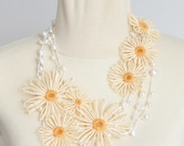 Pearl and Daisy - Handmade Paper Raffia Loom Flower and Fresh Water Pearl Long Necklace