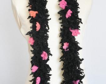Firefly - Black - Crochet Multicolor Flower Hairy Scarf
