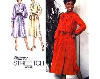 70s Dress Pattern Simplicity 9161 Pullover Blouson Dress Short or Long Sleeve Womens Size 10 12 14 Sewing Pattern UNCUT