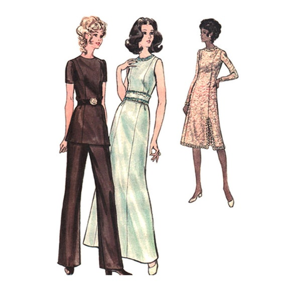 70s Maxi Dress or Tunic, Pants Pattern Butterick 6468 Princess Seams Trousers Bust 34