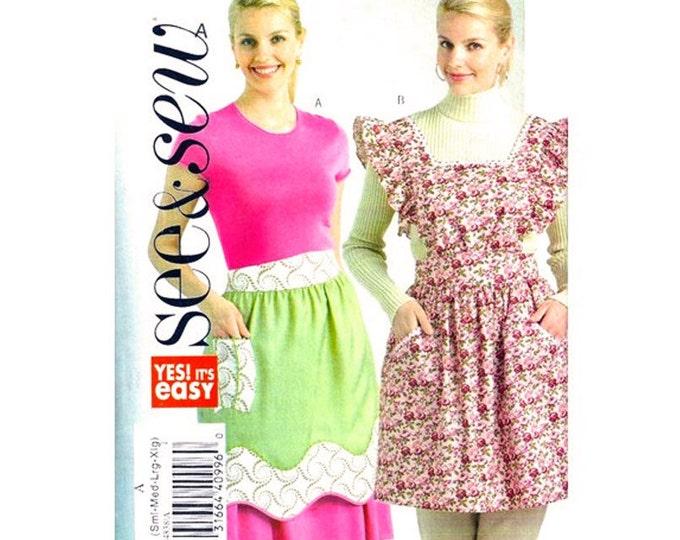 Retro Apron Pattern Half or Full Bib Apron Butterick See & Sew 4838 Womens Size 8 to 22