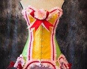 RAINBOW BRITE Burlesque Costume Steampunk Steel boned Corset Overbust corset Pink Red Green