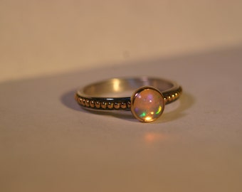 14K Gold & Silver Ring with 6mm Opal Cabochon - Size US 6 - Ready to Ship