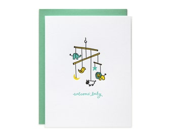 Baby Animal Mobile Letterpress Card
