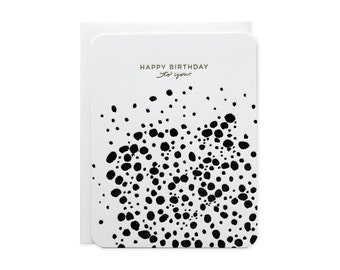 Happy Birthday Dots Pattern Letterpress Card