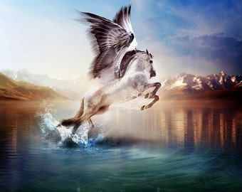 Pegasus Mythical Winged Horse Fantasy Fairytale Art Print Illustration by Ginger Kelly, Rearing Horse in Lake and Mountain Landscape