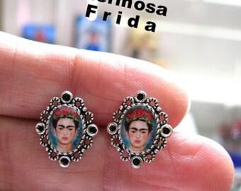 Frida kahlo MINI stud earrings aretes mexicana dia de los muertos latina fiesta mexicana folk art