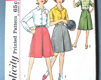 Early 1960s Simplicity 4648 Misses' Action Back Shirt and Skirtstraight collar, front button closing Vintage Sewing Pattern Bust 31