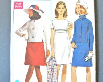 Butterick 5179 Misses'  Dress  Jacket Loose-fitting  jewel neckline  front slits  A-line oval neckline 1960s Vintage Sewing Pattern  Bust 34