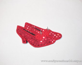 "Embroidered Iron On Applique- ""Red Shoes"""