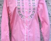 sz small Pink Bob Mackie daisy embroidered peasant blouse, vintage bob mackie
