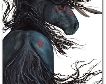 SALE - Majestic Black Stallion Native American Spirit Horse ArT-  Giclee Print by Bihrle mm135