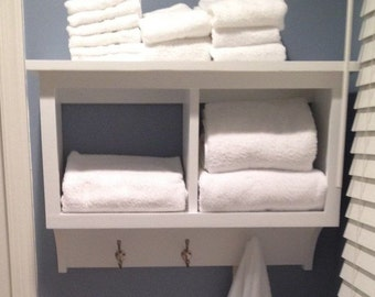 Towel Rack Cubby Wall Shelf Bathroom Holder Display Rack 2 Cubby Wall Storage Shelf