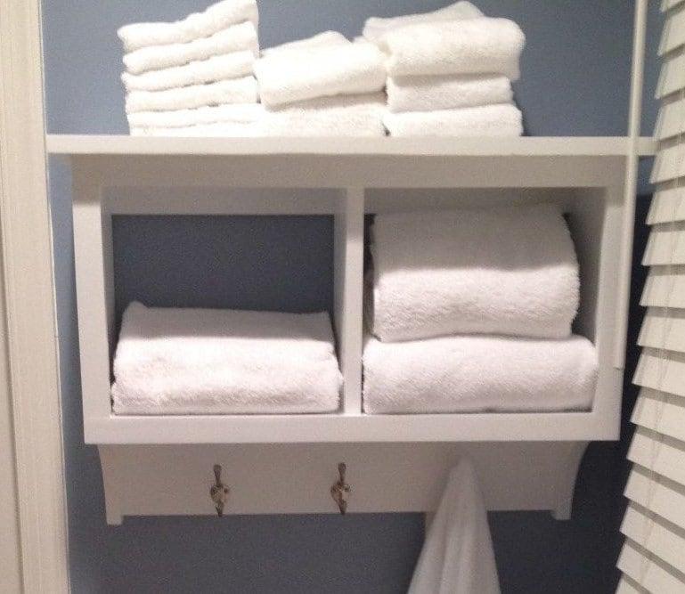 Towel Rack Cubby Wall Shelf Bathroom Holder Display Rack 2