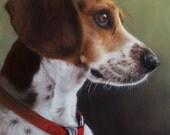 "Giclee Print of Original Oil Portrait of Snoopy 8x10"" by Nancy Cuevas in 11x14"" Cut Mat"