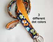 Lanyard / ID Holder with lobster claw clasp - Little foxes with white pin dots on aqua , yellowish orange, or green two 2 toned