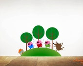 3 Little Pigs with Big Bad Wolf Wall Decal