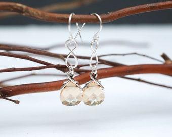 Bridal Jewelry Sterling Silver Infinity Crystal Golden Shadow Earrings