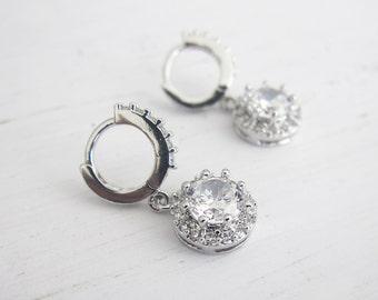 Vintage Crystal Bridal Hoop Earrings, 1920s Bridal Hoop Vintage Earrings, 1920s Earrings, Wedding Earrings, Bridesmaid Earrings - 'KERI'