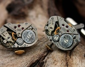 Men's Steampunk watch movement cuff links- polished matching pair with wings detail- Gift for him cufflinks