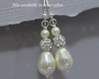 Drop Pearl Earrings, Wedding Earrings, Dangle Earrings, Bridal Earrings, Bridesmaid Earrings, Bridesmaid Gift