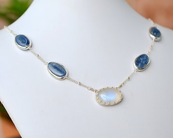 Rainbow Moonstone and Kyanite Necklace in Sterling Silver, Oval Cabochon Bezel Set, Rimmed Kyanite, pattern chain, Bridal, Something Blue