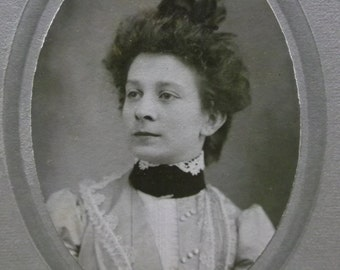 Pretty Young Lady-Frizzy Hair-Bow-Fashion Dress-Buttons-Antique Cabinet Photo