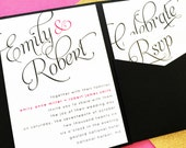 Scripted Wedding Invitation, Pocket Fold Wedding Invitation, Pocket Invitation, Pocketfold Wedding Invite Invitation Suite Set