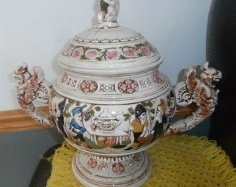 Vintage Large  CeramIc  Urn Griffin Handles Vase beautiful  Cat~ Dwarfs ~ Dragons      Mint Condition