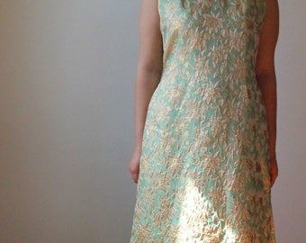 1960s Brocade evening gown. Full length gold and pale green formal dress maxi