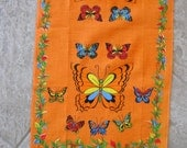Vintage Butterfly Tea Towel Linen Floral Orange Yellow Green Red