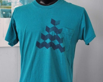 Qbert Cubes Tee Steel Blue on Teal Aqua One Pocket Tshirt Geometric Unique Original Design Abstract MENS LARGE MEDIUM
