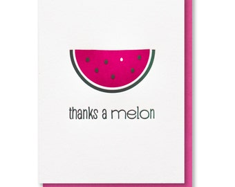 Punny Watermelon   Thanks a Melon   Foodie Letterpress Card   kiss and punch