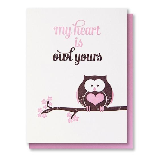 CLEARANCE - Letterpress Owl Pun Love Valentine Card