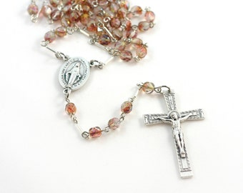First Communion, Confirmation or Godmother Gift - Handmade Catholic Rosary -  Miraculous Medal - Pink Champagne glass beads