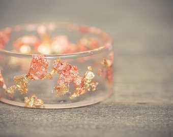 Gold Resin Bangle Rose Yellow Gold  Flakes Bracelet Wide Cuff OOAK jewelry eco friendly