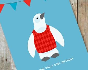 Cool Sweater Penguin Birthday Card