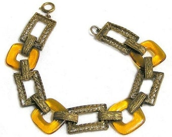 Amber Glass and Gold Tone Filigree Link Bracelet