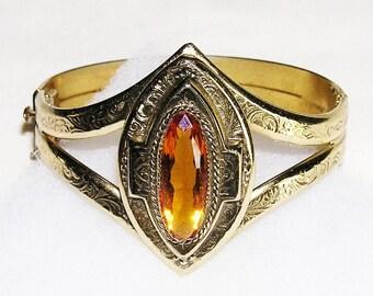Whiting Davis Amber Glass Bracelet