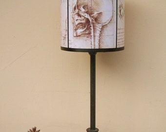 Skull lamp shade lampshade Leonardo Da Vinci by Spooky Shades - Lighting, steampunk, anatomy, macabre, dark decor, Da Vinci, gift, unique