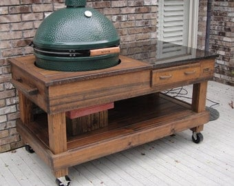 Tables Cypress with Drawer With Cut Out Option For Green Egg and Kamado Joe Grills